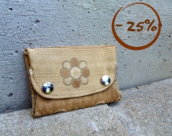Fold over coin purse in recycled tapestry fabric. Unisex purse. Gold wallet. Prototype - 25% off