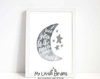 I Love You to the Moon and Back - Grey Moon