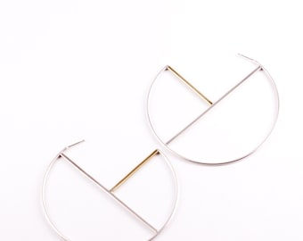 "Mixed metal statement hoops of geometric lines with brass added for color and contrast, large yet lightweight - ""Geometric Hoop Earrings"""