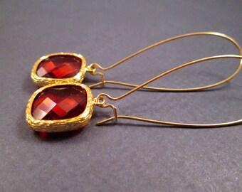 Long Drop Earrings, Red Orange Resin Bezels, Gold Dangle Earrings, FREE Shipping U.S.