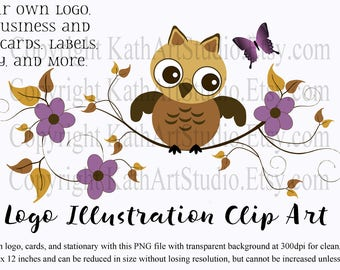 Instant Download - Whimsical Owl on a Branch Clipart for Logos, Scrapbooking, Card Making, Personal and Commercial Use Item #110