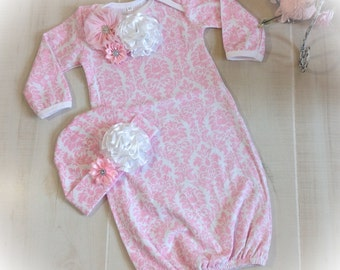 Newborn Girl Hospital Outfit, Newborn Girl Layette Gown, Baby Girl Coming Home Oufit