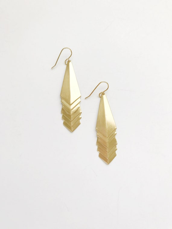 Stacked Triangle Drop Earrings