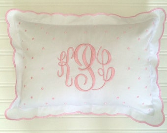 Monogrammed Baby Pillow Crib Nursery Pink Blue White