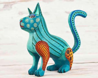 A1361 Cat Alebrije Oaxacan Wood Carving Painting Handcrafted Folk Art Mexican Craft