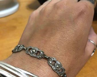 Marcasite Link Bracelet - Sterling Silver Marcasite Bracelet