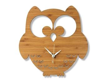 Bamboo Owl Wall Clock. Woodland Themed Room.