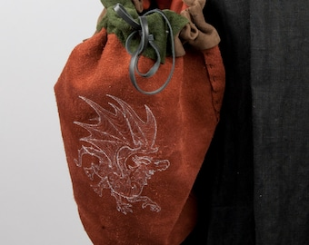 Large leather bag embroidered dragon game of thrones loot bucket shoulder bag sca fantasy larp medieval costume adventurer warcraft elf