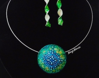Adornment necklace mosaic Choker and earrings