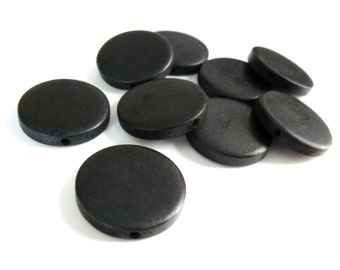 10 perles de bois noir teint en rondelle de 25mm