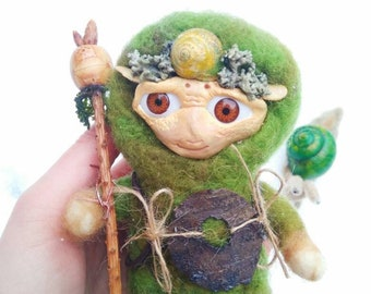 OOAK polymer clay doll. Art doll sculpture. Felted doll. OOAK forest dweller. Wool Sculpture. Polymer Clay Sculpture.Fantasy Figurine.