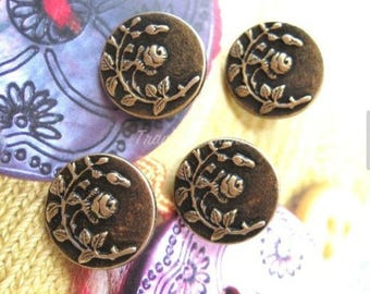 4 Retro Vintage Style Bronze Floral Flower Rose Jacket Coat Sweater Metal Button 0.8 Inches / 2 cm