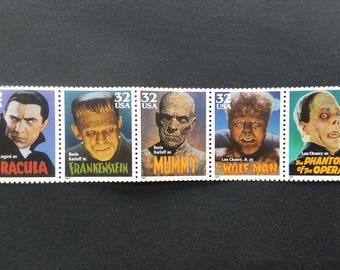 Five (5) vintage unused postage stamps - Movie monsters (5 designs) // 32 cent stamps // Face value 1.60