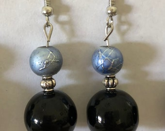 Blue and Black Drop Earrings