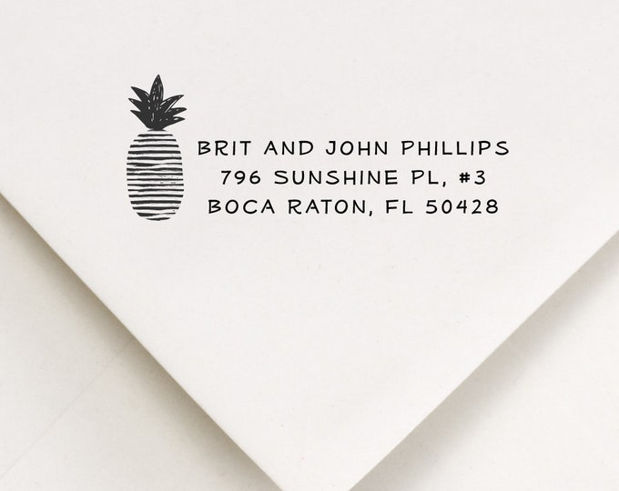 Featured listing image: Personalized Pineapple Stamp - For Stamping Names and Address on Envelopes, Packages - First New Home Housewarming Gift For Couple (135)