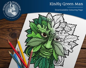 Celtic Green Man Downloadable Coloring Page