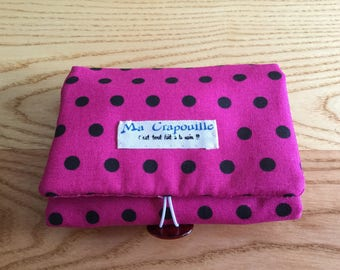 pink polka dot travel organizer