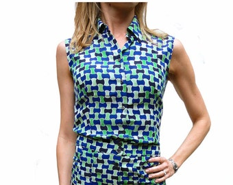 Prada geometric print silk sleeveless shirt