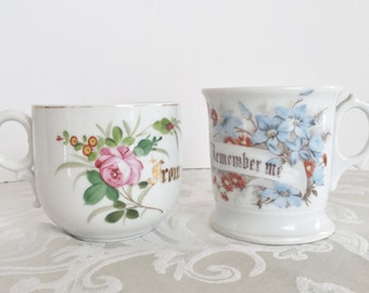 Set of 2 Vintage Antique Victorian Mugs Remember Me & From a Friend Floral Collectible Mustache Shaving Mug Cup Collection Victorian Decor