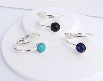 Silver Leaf Ring, Lapis Lazuli, Turquoise or Blue Goldstone, adjustable .925 sterling silver