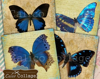 Schmetterling, Vintage Schmetterlinge, digitale Untersetzer, Druckbogen, Decoupage, druckbare Untersetzer digitale Collage Blatt, 4 x 4-Zoll-Bild