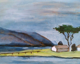 art giclee print of original oil painting - house with pier