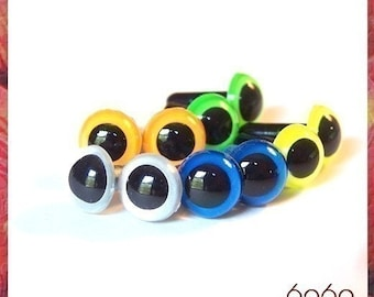 21mm Toys Plastic Animals eyes 5 PAIRS - NEON COLORS