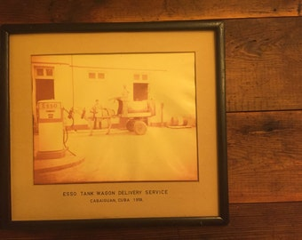 Vintage Esso Gas Station Framed Photograph 1958 Cabaiguan Cuba Tank Wagon Delivery Service Oil Tank Air Pump Horse Drawn Original Petroliana