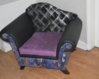 Stunning Statment Chair Upholstered In A Mix of Faux Leather And Designer fabrics