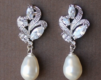 Wedding Earrings, Crystal Bridal Earrings, Pearl Drop Earrings, Bridal Jewelry, Wedding Jewelry, FLEUR