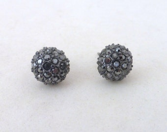 Vintage Black Rhinestone Crustal Cluster Ball Post Earrings
