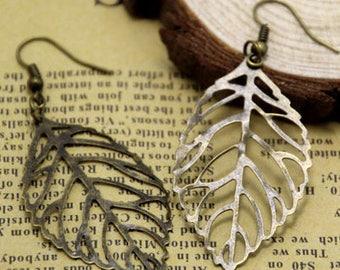 Leaf Earrings large Leaf Earrings, Bronze Leaf Earrings Leaf Earrings. Bridesmaid gift, fall wedding, gift for her, leaf jewelry, dangle,