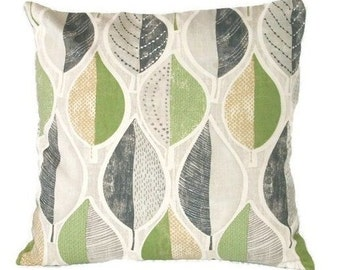 Pillow Cover, Green And Grey, Leaf Pattern, Decorative Pillow Cover, Throw Pillow Cover, 2 Sizes Including Lumbar