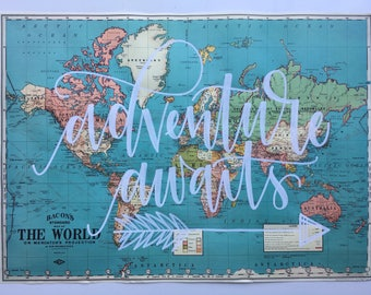 World Map // Adventure Awaits // Vintage Style Map // Handlettered Map