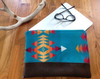 "Turquoise Computer Case made with genuine Pendleton® fabric""."