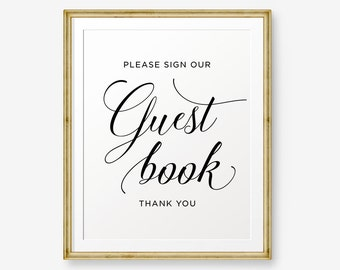 Please sign our guestbook Printable, Wedding Guestbook Sign, Wedding Sign, Wedding Decor, wedding reception sign, Style 2