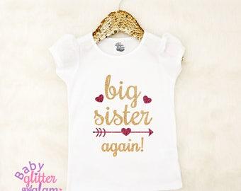 Big Sister Again Shirt, Pregnancy Announcement Shirt, Promoted to Big Sister, Big Sister to Be, Siblings Shirt, I'm Going to Be a Big Sister