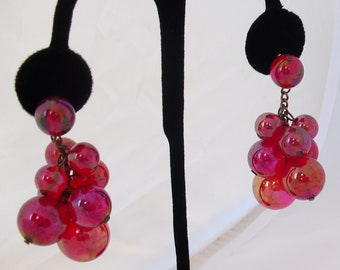 Bubble Dangle Earrings, Tiny Bubbles in the Wine, Crimson Lucite Orbs, Cranberry Red Post Earrings for Pierced Ears