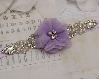 Flower girl belt, lilac flower belt, bridesmaid belt, wedding sash, sash belt, crystal rhinestone belt, dress belt