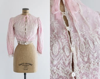 Pink and White Edwardian Blouse - Tambour Lace - Luarca Blouse