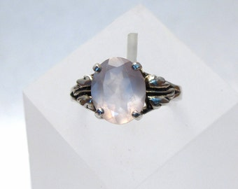 Rose Quartz Ring ~ Faceted Pink Rose Quartz Gemstone ~ Sterling Silver Leaf Ring - Size 6 1/2 or 8