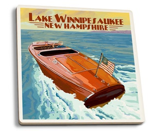 Lake Winnipesaukee, NH Chris Craft Boat LP Artwork (Set of 4 Ceramic Coasters)