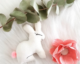 Little pink rabbit and clouds with tassel!