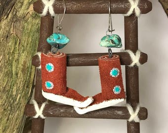Native American Turquoise Nugget and Suede Leather Boot Earrings
