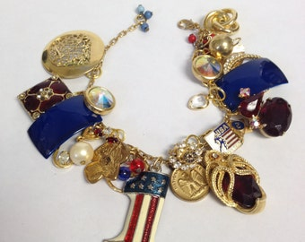 Recycled/Upcycled Fourth of July Charm Bracelet