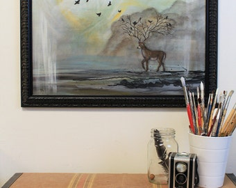 Going Home - original painting of deer with crows, abstract art acrylic on canvas