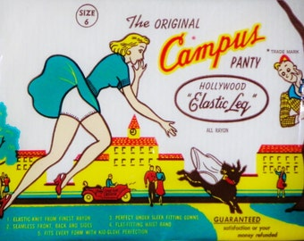 Campus Panty 1950s Sealed In Package Hollywood Elastic Leg Rayon Nylon Size 6 Kid-Glove Perfection