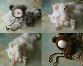 knitted TEDDY BEAR SET - 100 % natural, extremaly fluff and soft
