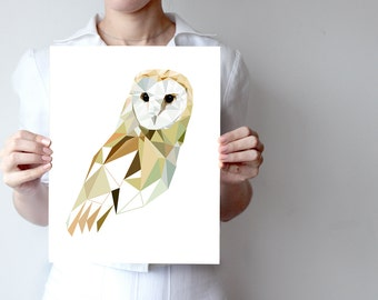B38 - Barn Owl, Art Print  - Geometric, Bird art,  White Soft Feather, Night Bird, Black Eyes, Bird of Prey, Tyto Alba
