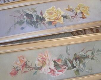 Pair of antique roses paintings